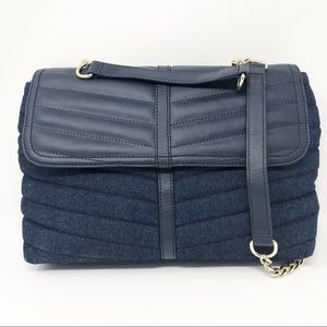 Talbots Denim and Leather Quilted Purse Gold Chain